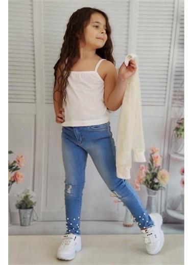 Riccotarz Kız Çocuk Transparan Ceketli Incili Alt Üst Takım Beyaz